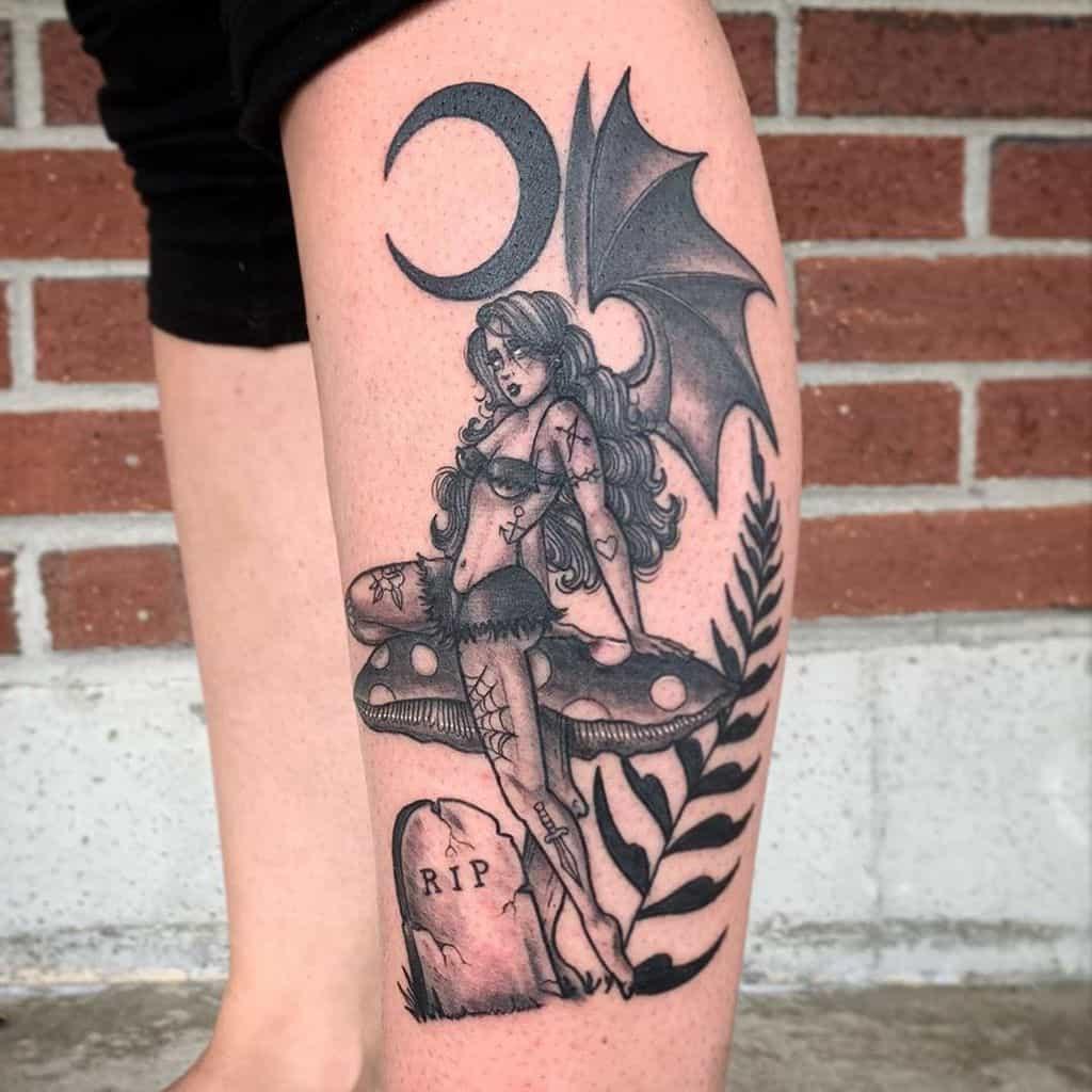 Spooky Black And Gray Bad Fairy Tattoo