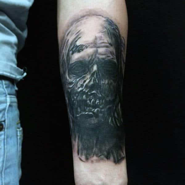 Spooky Black Lifeless Zombie Tattoo On Mans Wrist