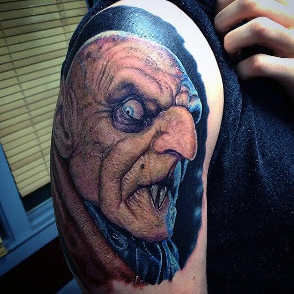 Spooky Mens Upper Arm Vampire Tattoos