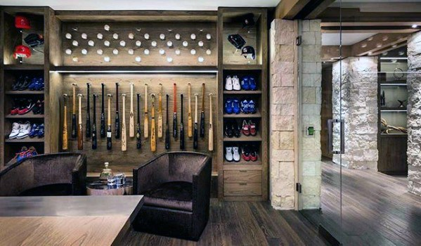 Sports Basement Man Cave With Baseball Theme