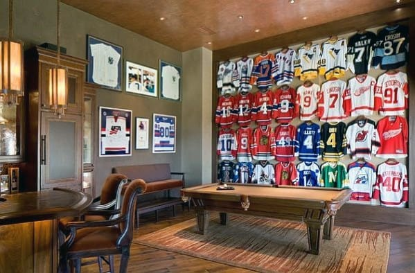 Sports Jersey Wall With Pool Table Cool Man Cave Ideas For Men