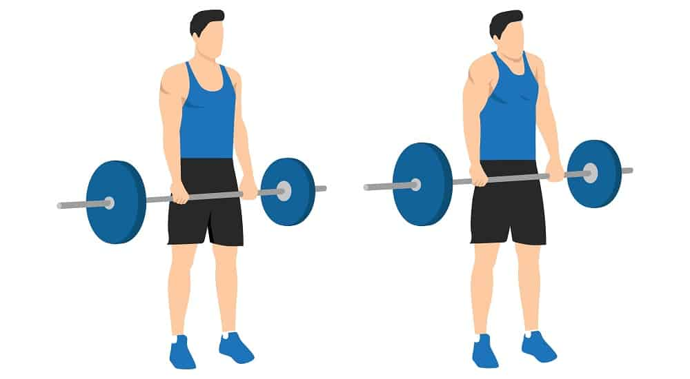 sports silhouettes, man in shorts doing shoulder shrugs exercise