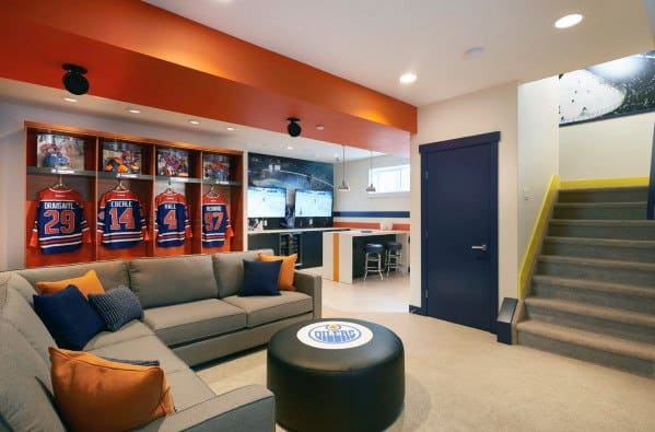 Sports Themed Male Awesome Man Caves In Basement Of Home