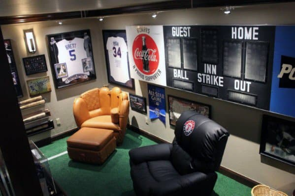 Sports Themed Male Basement Man Cave Cool Design Ideas