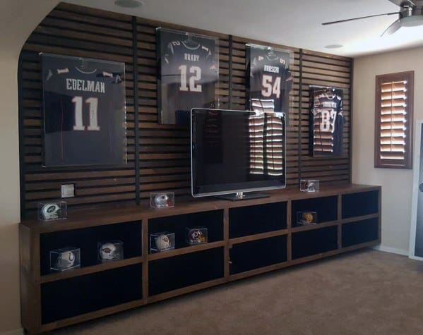 Sports Themed Wooden Slats Cool Tv Wall Design Ideas
