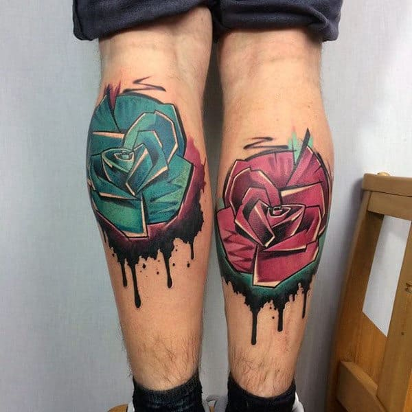 Spray Paint Graffiti Roses Tattoo Watercolor With Dripping Ink On Back Of Leg Calves