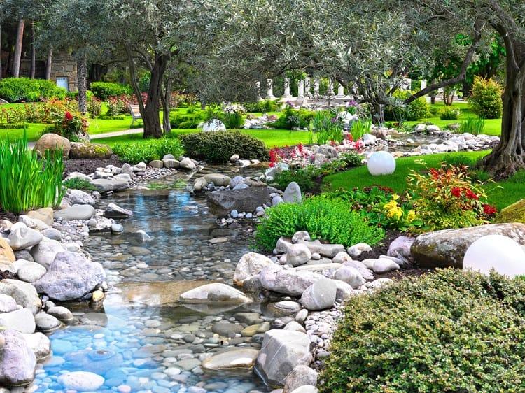 Spring Flowers Backyard Asian Garden Pond
