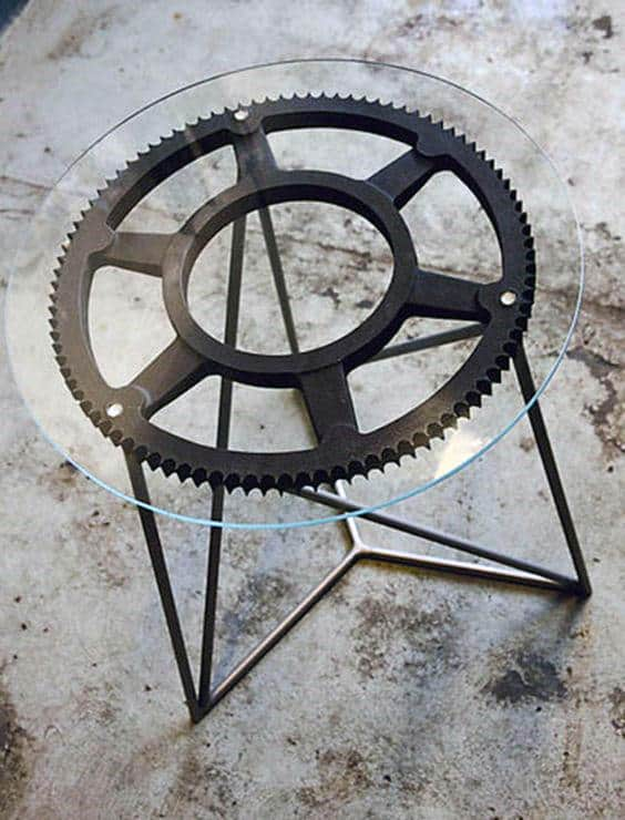 Sprocket End Table Man Cave Decor