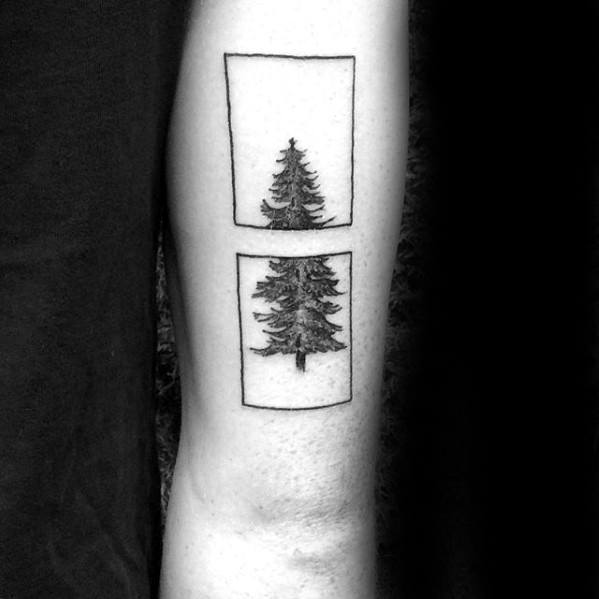 Square Abstract Pine Tree Small Mens Back Of Arm Tattoo Designs