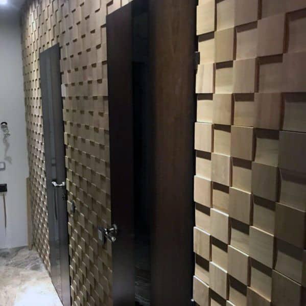 Square Blocks Hallway Design Ideas For Wood Wall