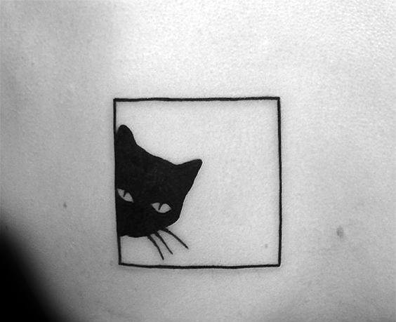 Square Box Simple Mens Cat Tattoo Ideas