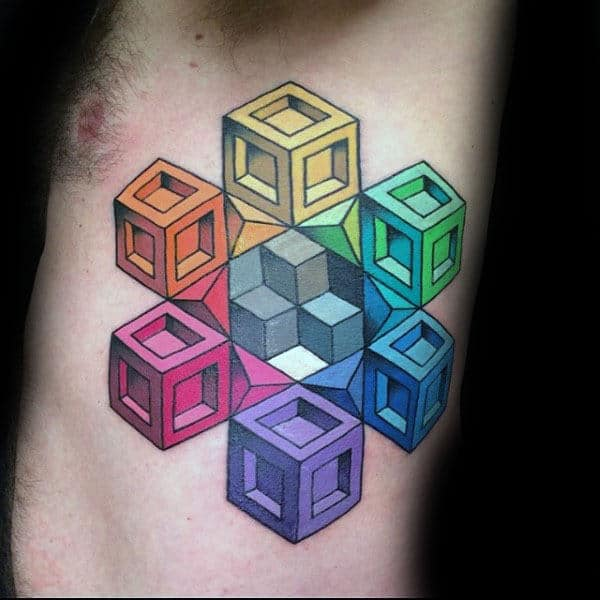 Square Cubes Optical Illusion Mens Rib Cage Side Tattoo