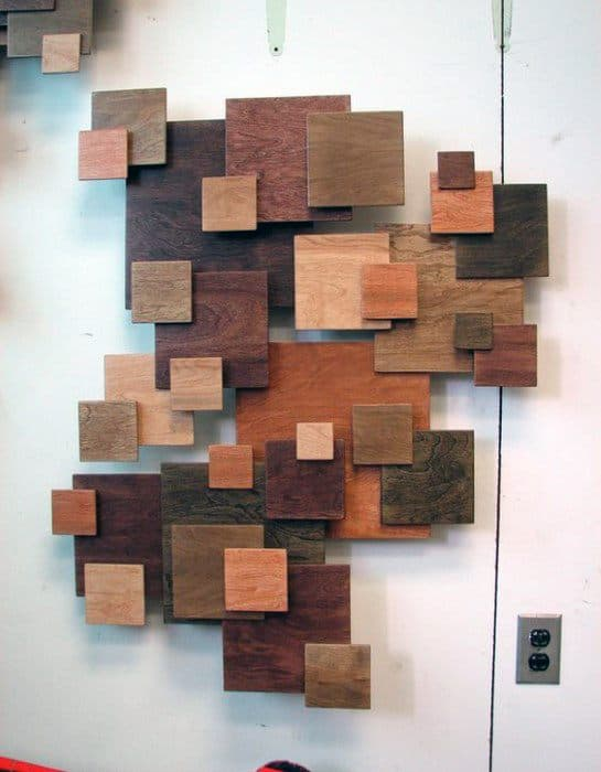 Square Cut Wood Blocks Bachelor Pad Wall Art Inspiration