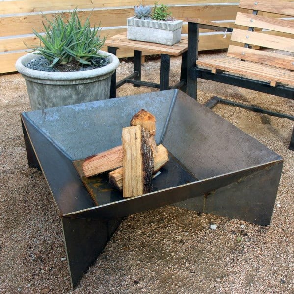 Square Excellent Backyard Ideas Steel Fire Pit