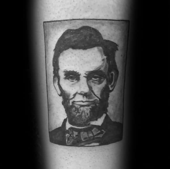 Square Forearm Guys Abraham Lincoln Tattoo Design Ideas