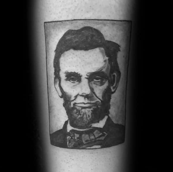 Square Forearm Guys Abraham Lincoln Tattoo Design Ideas