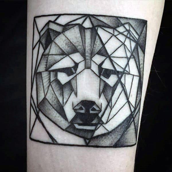 Square Tattoo: 60 Geometric Bear Tattoo Designs For Men