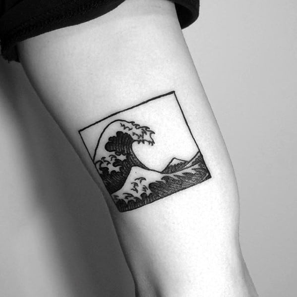 Square Japanese Great Wave Tattoo For Guys On Arm
