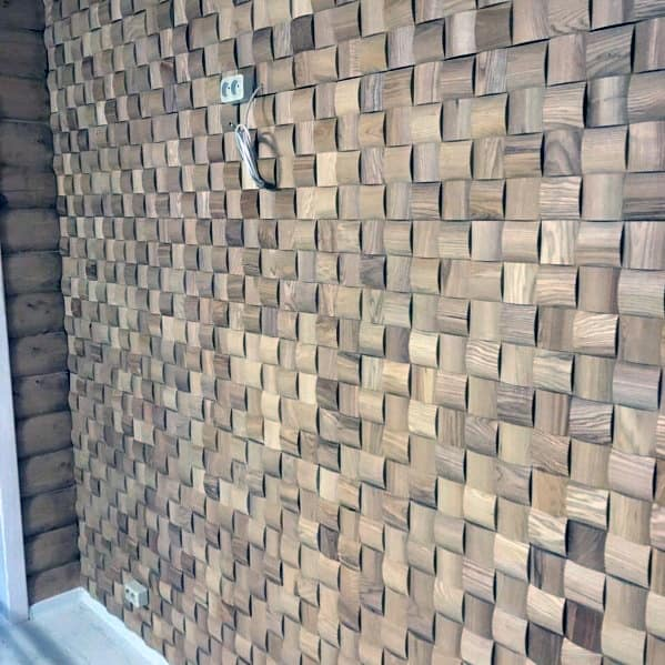 Square Pattern Nice Wood Wall Interior Ideas