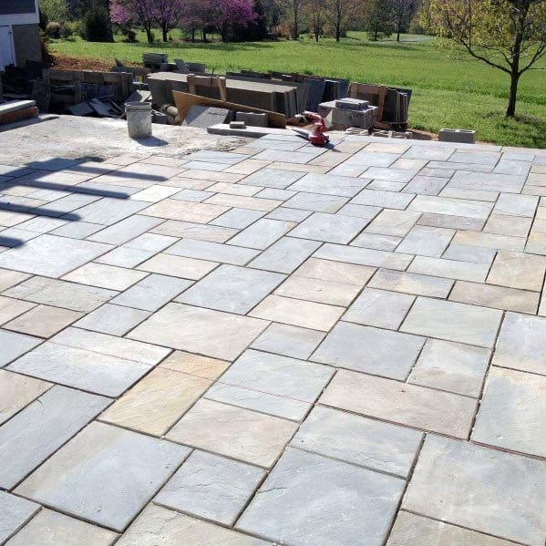 Square Pattern Tile Flagstone Patio Spectacular Ideas