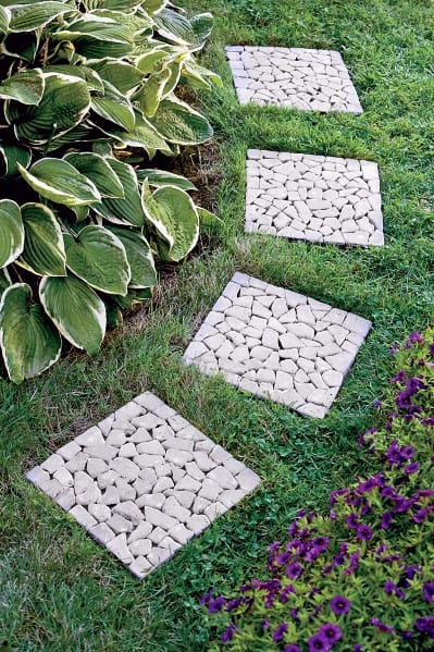Square River Rock Exterior Stone Walkway Design