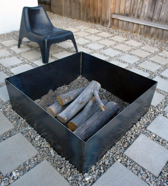 Square Simple Design Ideas For Metal Fire Pit
