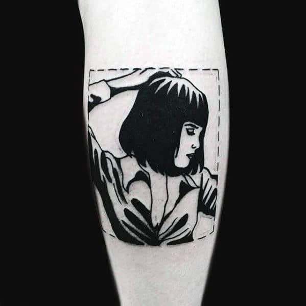 Square Unique Mens Retro Pulp Fiction Mia Wallace Tattoo On Leg