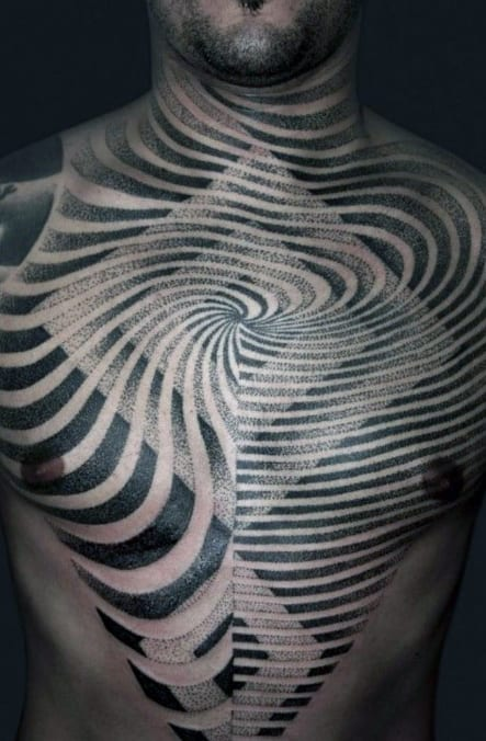 Squares With Spiral Optical Illusion Mens Black Ink Full Chest Tattoos