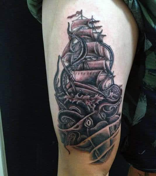Squid And Boat Scene On Leg Thigh Of Man