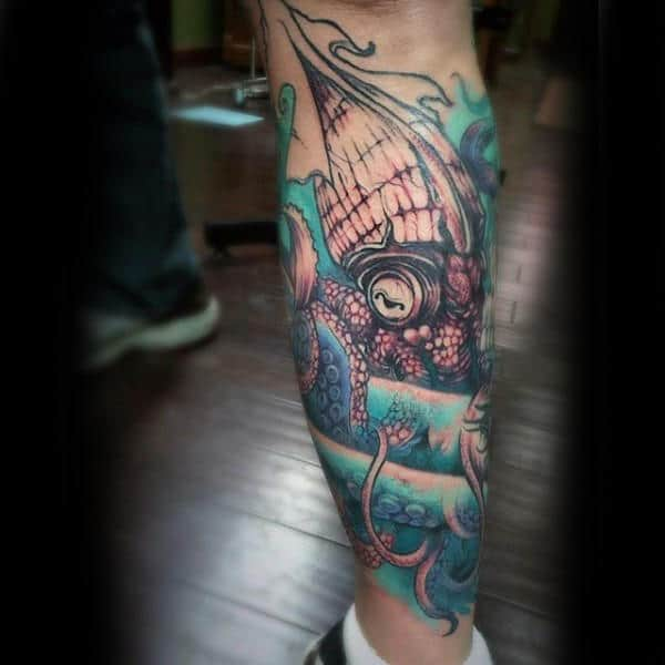 Squid In Ocean Watercolor Shin Guys Tattoos