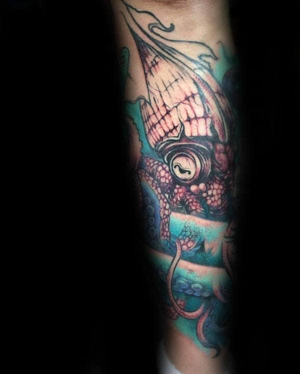 Squid Kraken Leg Tattoo On Male