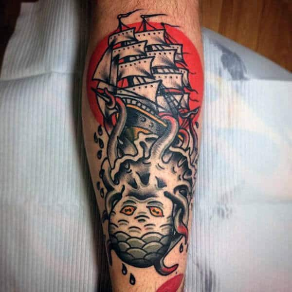 Squid Tattoo With Sailor Jerry Style On Back Of Leg Calf For Men