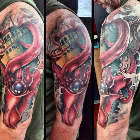 Squid Tentacles Dragging Vessel Into Ocean Tattoo For Men Upper Arm Design