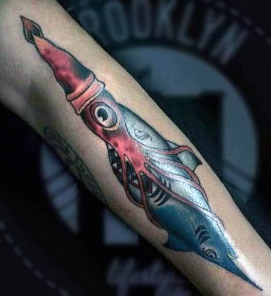 Squid With Tentacles Wrapped Around Shark Mens Tattoo On Forearm