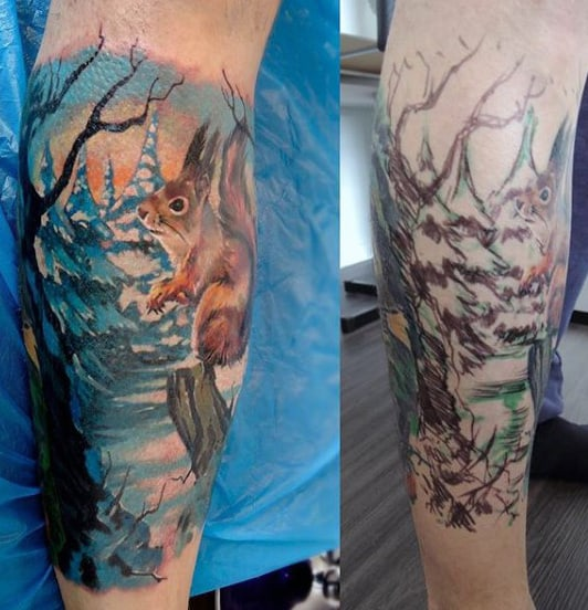 Squirrel In Winter Forest Half Sleeve Tattoo On Man