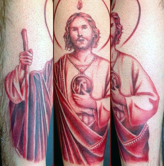 St Jude Mens Red Ink Forearm Tattoos
