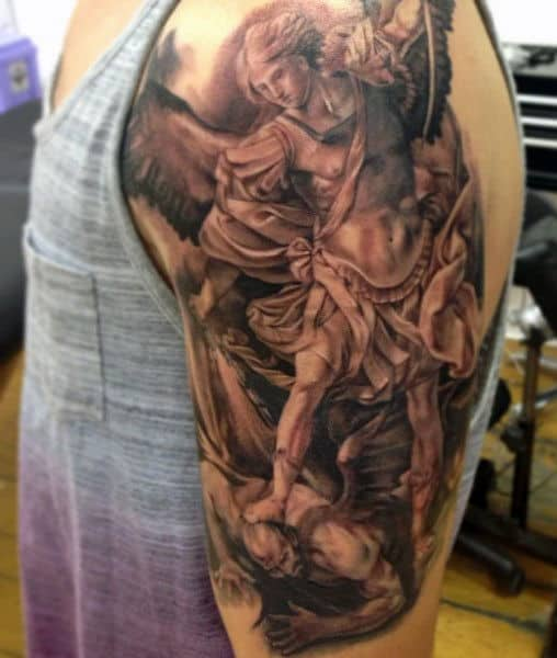 St Michael Tattoo Designs For Males