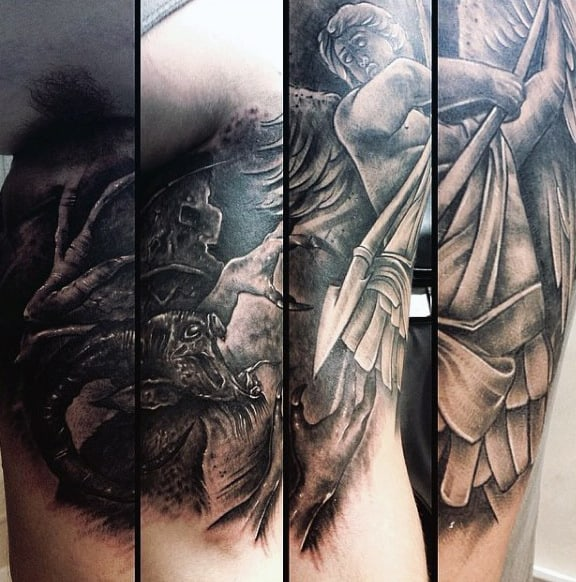 St Michael Sleeve Tattoo For Men