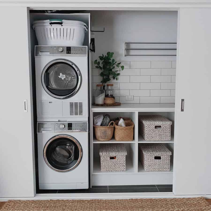 stacked laundry closet ideas insidethe1six4