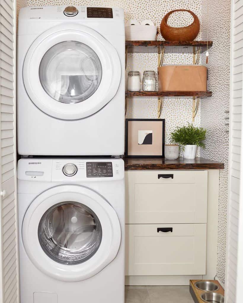 stacked laundry closet ideas sprucecreativestudio