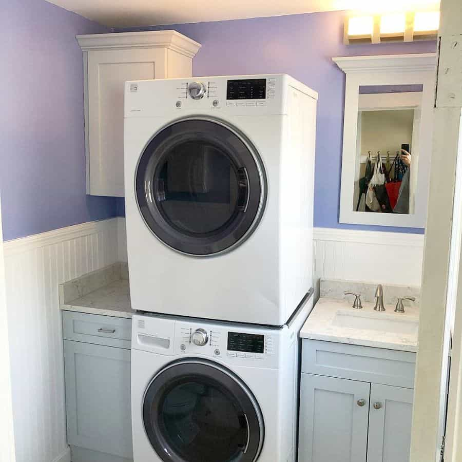 Stacked Small Laundry Room Masselitecarpentry