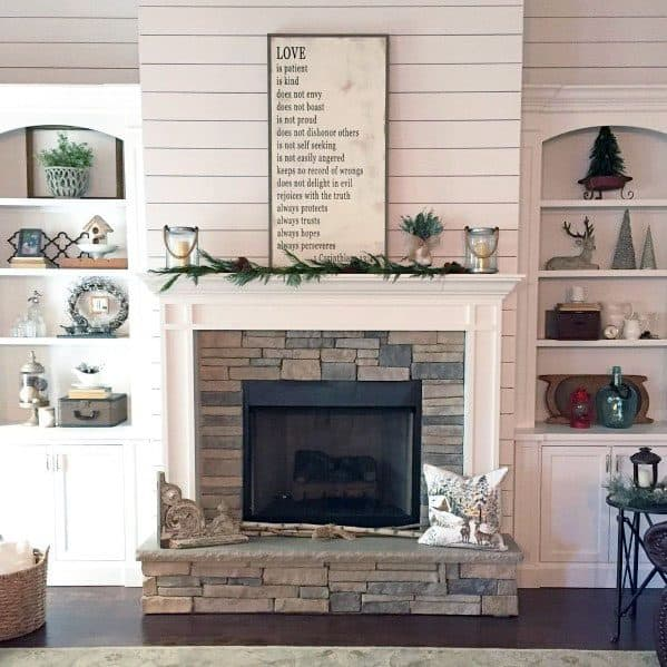 Stacked Stone Fireplace Cool Interior Ideas