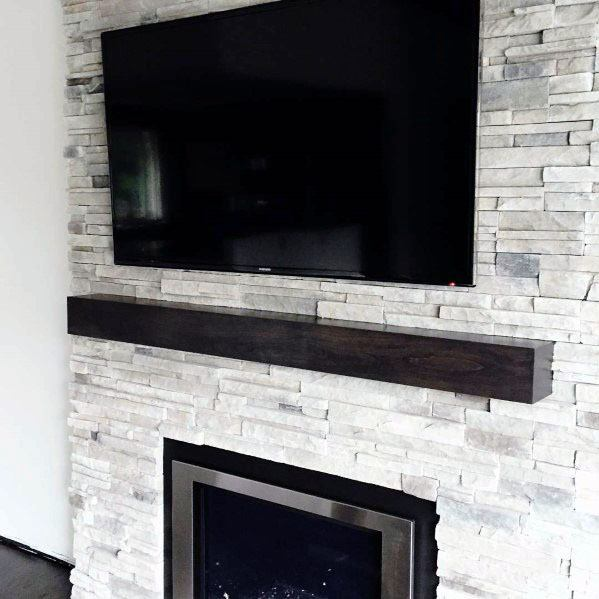 Stacked Stone Fireplace Design Inspiration
