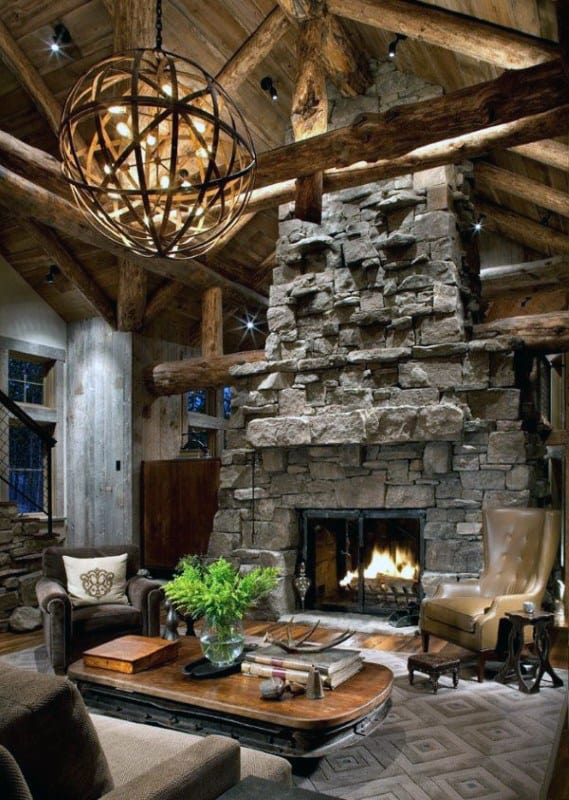 Stacked Stone Fireplace Design