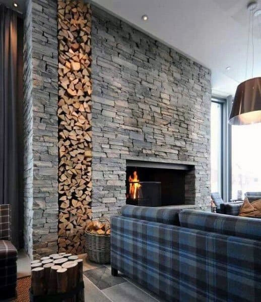 Stacked Stone Fireplace Home Ideas