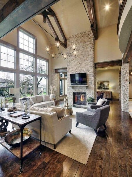 Stacked Stone Fireplace Idea Inspiration