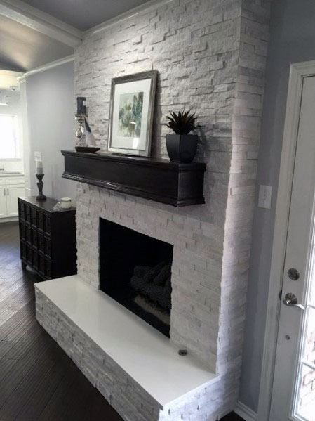 Stacked Stone Fireplace Interior Design