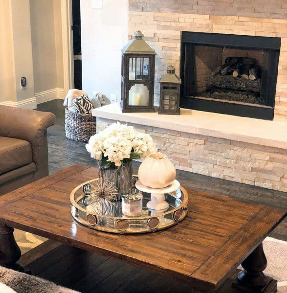 Stacked Stone Fireplace Interior Ideas