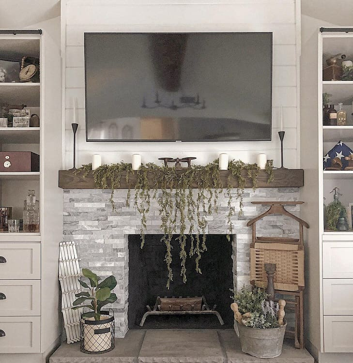 Stacked Stone Mantle Tv Wall Fireplace Surround Blendedfarmhouse