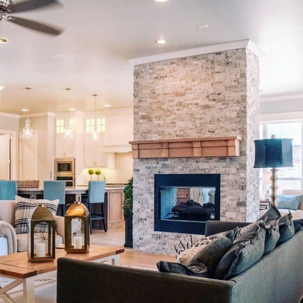 Stacked Stone Veneer Firepalce Tile Ideas